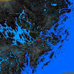 Solna, with labels, SLR +2.5 m